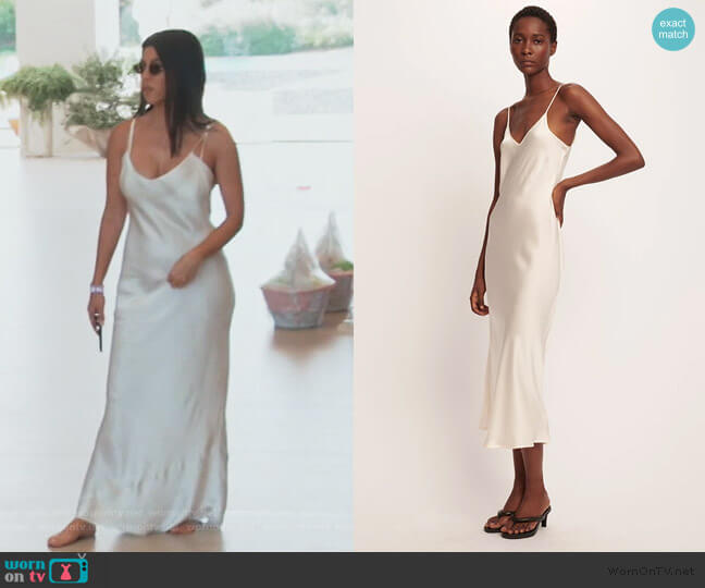 90s Silk Slip Dress in Ivory by Silk Laundry worn by Kourtney Kardashian  on Keeping Up with the Kardashians