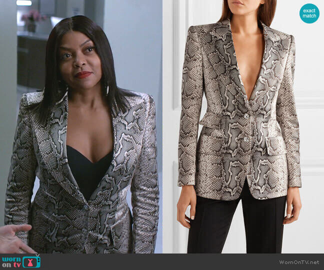 Snake-Print Twill Blazer by Tom Ford worn by Cookie Lyon (Taraji P. Henson) on Empire