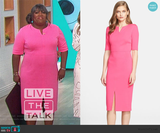 Milano Knit V-Neck Dress by St. John Collection worn by Sheryl Underwood  on The Talk