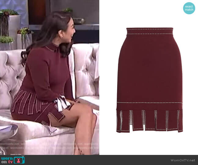 Fawn Skirt by Staud worn by Jeannie Mai  on The Real