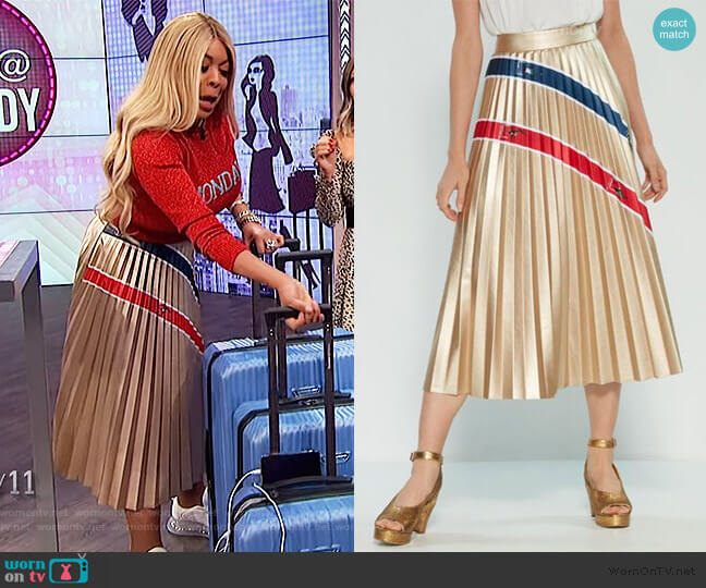 Metallic Stripe Skirt by Stella Jean worn by Wendy Williams  on The Wendy Williams Show