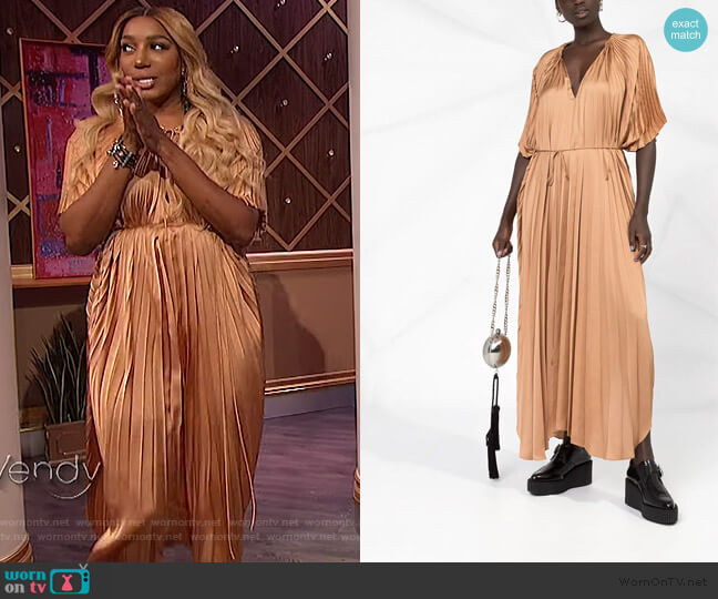 Cape Sleeve Pleated Dress by Stella McCartney worn by Nene Leaks on The Wendy Williams Show