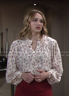 Summer's white floral bouse on The Young and the Restless