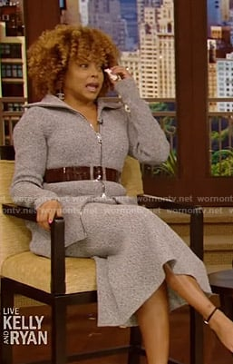 Taraji P. Henson's grey knitted jacket and skirt on Live with Kelly and Ryan