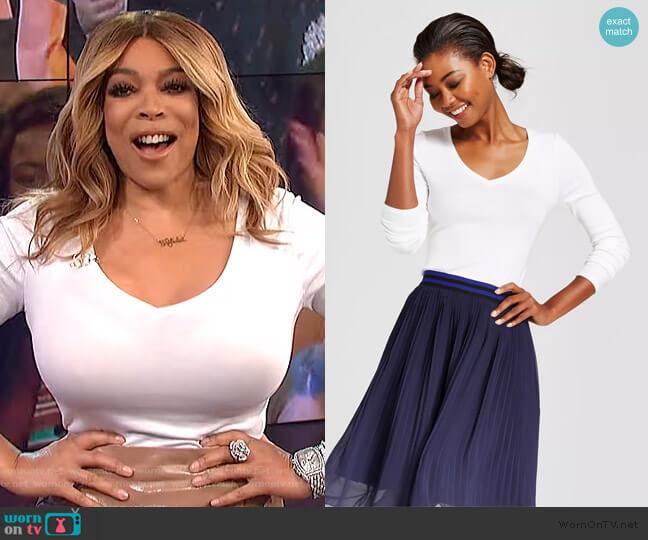 Long Sleeve V-Neck T-Shirt by A New Day at Target worn by Wendy Williams  on The Wendy Williams Show