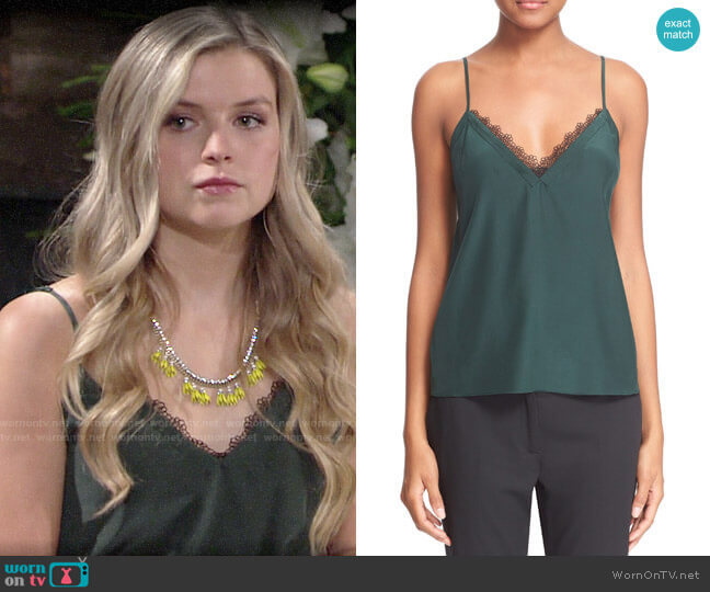 The Kooples Lace Trim Crêpe de Chine Camisole  worn by Zoe Hardisty (Anna Grace Barlow) on The Young & the Restless