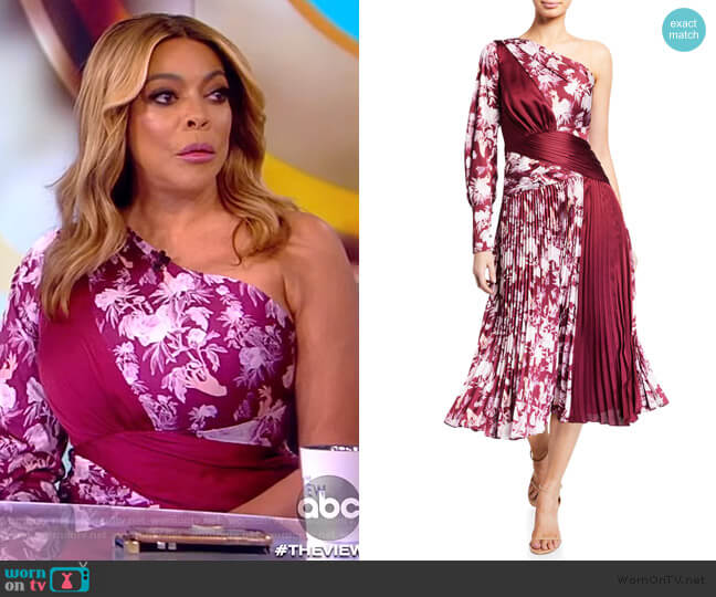 Xilitla Printed One-Shoulder Pleated Midi Dress by Three Floor worn by Wendy Williams on The View