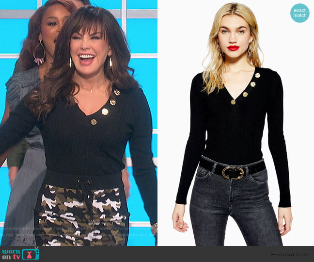 Hammered Button V-Neck Knitted Top by Topshop worn by Marie Osmond  on The Talk