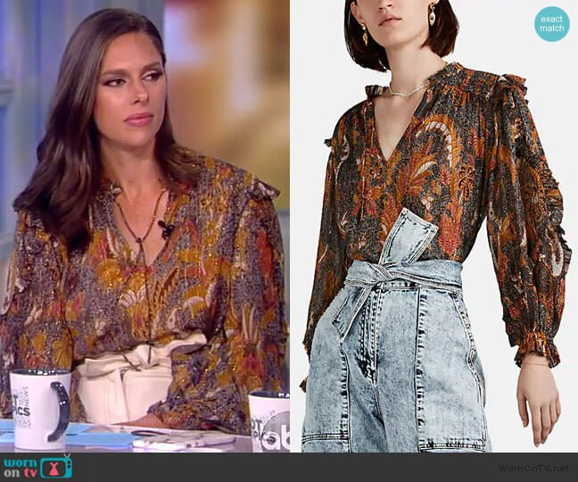 Lara Paisley Plisse Blouse by Ulla Johnson worn by Abby Huntsman  on The View