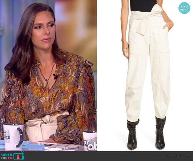 Storm Tie Waist Tapered Jeans by Ulla Johnson worn by Abby Huntsman  on The View