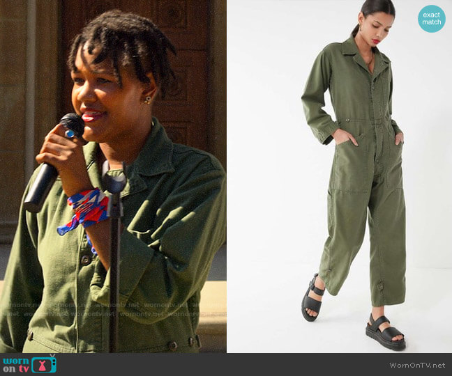 Urban Renewal Green Vintage Surplus Coverall Jumpsuit worn by Skye (Rahne Jones) on The Politician