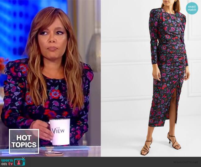 Selena floral-print stretch-silk midi dress by Veronica Beard worn by Sunny Hostin  on The View