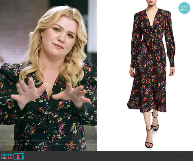 Amber Long-Sleeve Floral Tie-Front Midi Dress by Veronica Beard worn by Kelly Clarkson  on The Kelly Clarkson Show