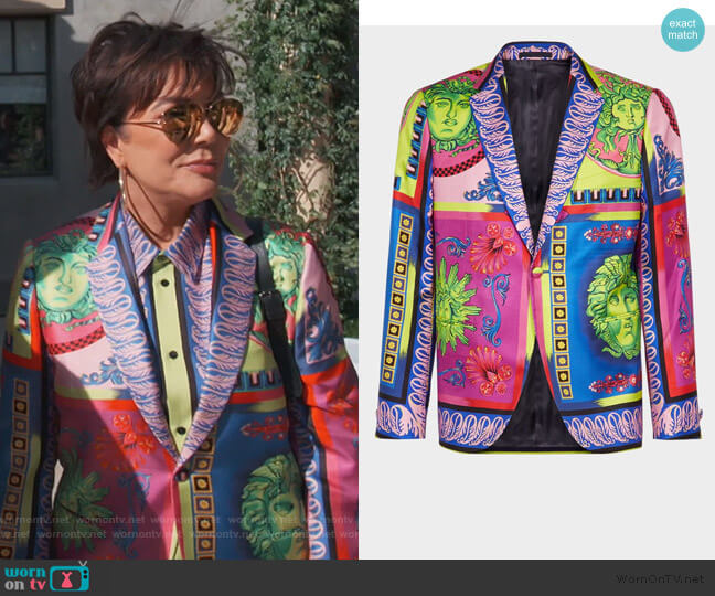 Medusa Pop Foulard Print Jacket by Versace worn by Kris Jenner  on Keeping Up with the Kardashians