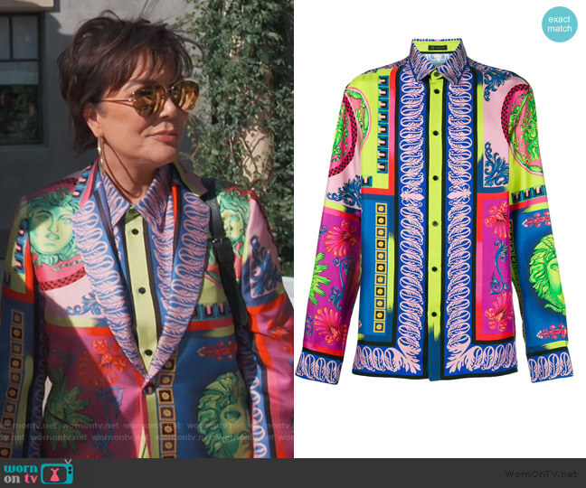 Printed Shirt by Versace worn by Kris Jenner  on Keeping Up with the Kardashians