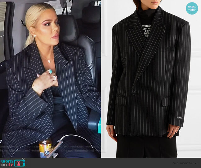 Oversized pinstriped wool-blend blazer by Vetements worn by Khloe Kardashian  on Keeping Up with the Kardashians