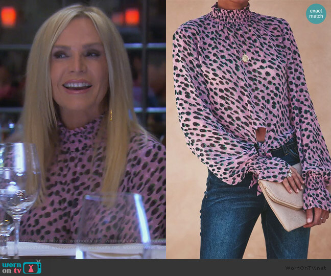 Leopard Spot Blouse by Vici worn by Tamra Judge  on The Real Housewives of Orange County