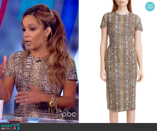 Snake Jacquard Sheath Dress by Victoria Beckham worn by Sunny Hostin  on The View