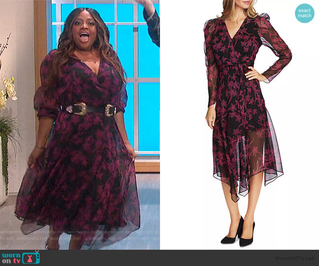 Floral-Print Wrap Dress by Vince Camuto worn by Sherrie Shepherd on The Talk
