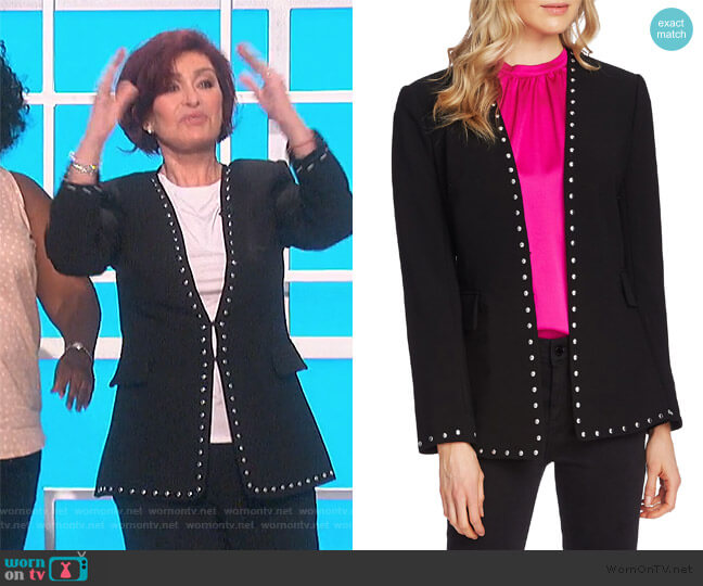 Studded Stretch Crepe Jacket by Vince Camuto worn by Sharon Osbourne  on The Talk