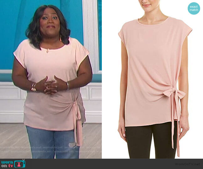 Short Sleevve Tie Front Blouse by Vince Camuto worn by Sheryl Underwood  on The Talk