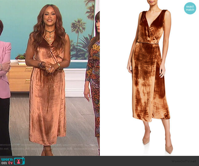Panne Wrap Dress by Vince worn by Eve  on The Talk