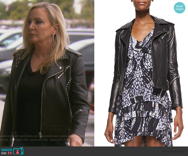 Wenda Studded Lambskin Moto Jacket by IRO worn by Shannon Beador  on The Real Housewives of Orange County
