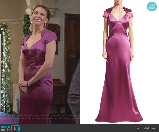 Cap Sleeve Stretch Satin Gown by Zac Posen worn by Liza Miller (Sutton Foster) on Younger
