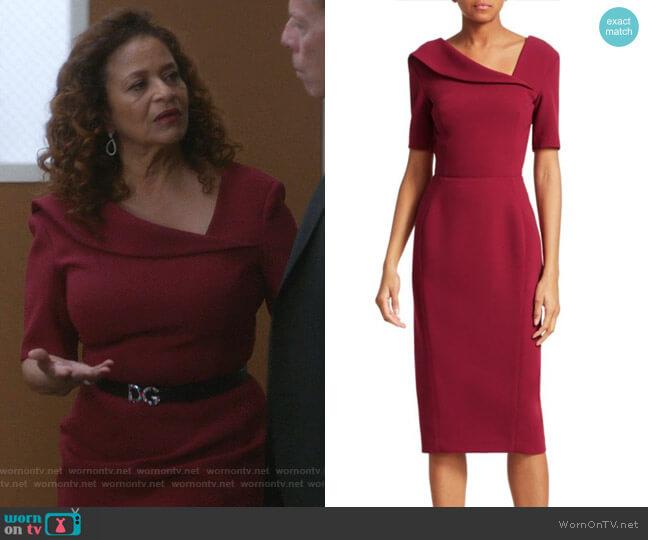 Short-Sleeve Asymmetric Neck Crepe Sheath Dress by Zac Posen worn by Catherine Avery (Debbie Allen) on Greys Anatomy