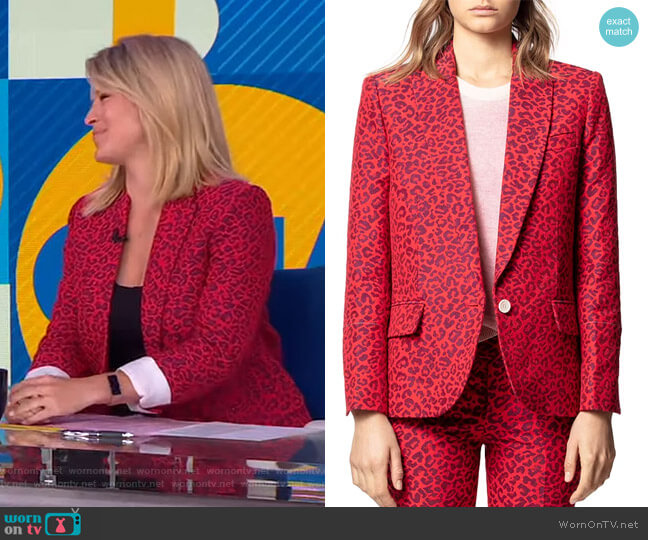 Viking Leopard-Print Jacquard Jacket by Zadig & Voltaire  worn by Sara Haines  on Good Morning America