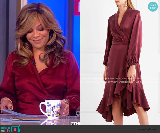 Asymmetric washed-silk wrap midi dress by Zimmermann worn by Sunny Hostin  on The View