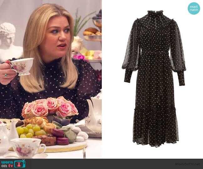 Espionage Polka Dot Dress by Zimmermann worn by Kelly Clarkson  on The Kelly Clarkson Show
