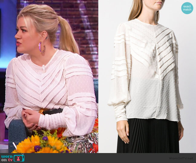 Embroidered Detail Blouse by Zimmermann worn by Kelly Clarkson  on The Kelly Clarkson Show