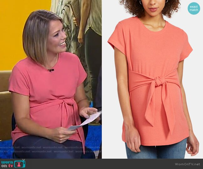 Tie Front Textured Maternity Top by A Pea in the Pod worn by Dylan Dreyer  on Today