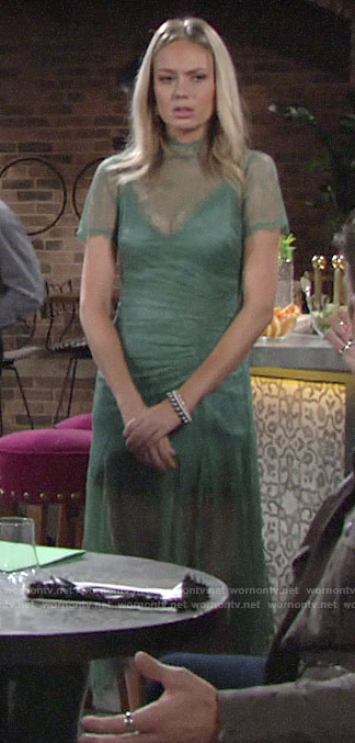 Abby's green lace overlay dress on The Young and the Restless