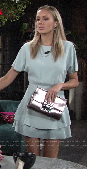 Abby's mint green short sleeved dress on The Young and the Restless