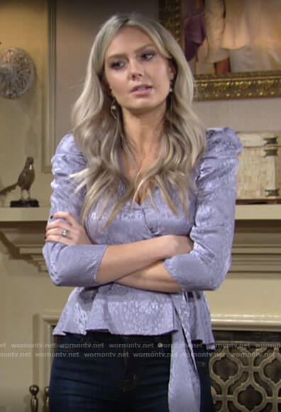 Abby's purple puff sleeve wrap top on The Young and the Restless