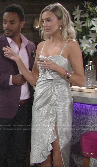 Abby's silver ruffled dress on The Young and the Restless