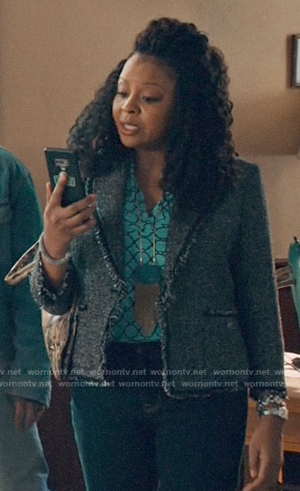 Adams's tweed blazer on Perfect Harmony