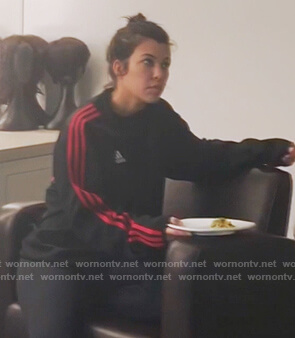 Khloe's black and red Adidas track jacket on Keeping Up with the Kardashians