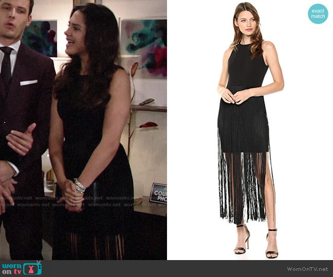 Aidan Mattox Fringe Cocktail Dress worn by Lola Rosales (Sasha Calle) on The Young & the Restless