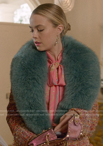 Ainsley's pink tweed coat with blue fur collar on Four Weddings and a Funeral