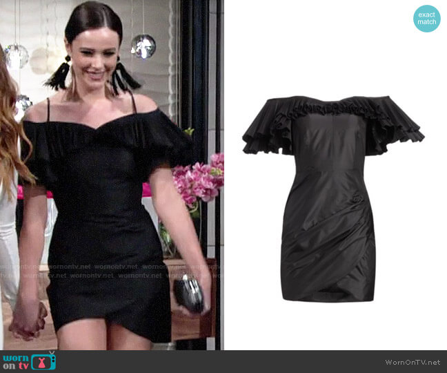 Alessandra Rich Off-The-Shoulder Pleated & Ruched Silk Taffeta Butterfly Sheath Dress worn by Tessa Porter (Cait Fairbanks) on The Young & the Restless
