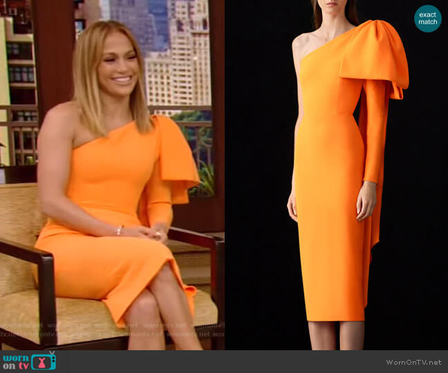 Wade Bow-Accented Crepe Midi Dress by Alex Perry worn by Jennifer Lopez on Live with Kelly and Ryan