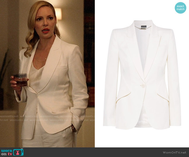 Alexander McQueen Grain de poudre wool blazer worn by Samantha Wheeler (Katherine Heigl) on Suits
