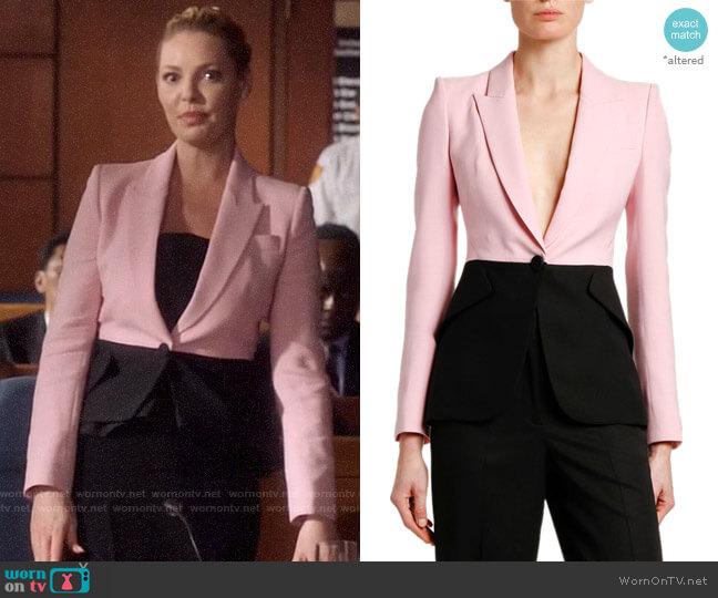 Alexander McQueen Bi-Color One-Button Jacket worn by Samantha Wheeler (Katherine Heigl) on Suits