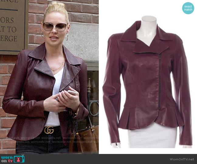 Alexander McQueen Peplum Leather Jacket worn by Samantha Wheeler (Katherine Heigl) on Suits
