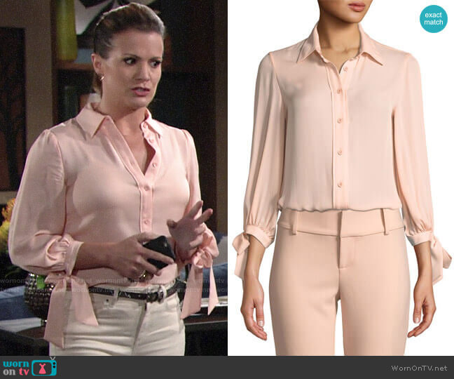 Alice + Olivia Simon Tie Sleeve Top worn by Chelsea Lawson (Melissa Claire Egan) on The Young & the Restless