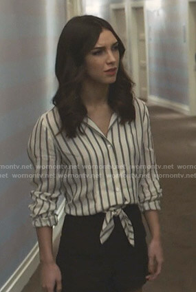 Alicia's striped tie front shirt and shorts on Grand Hotel
