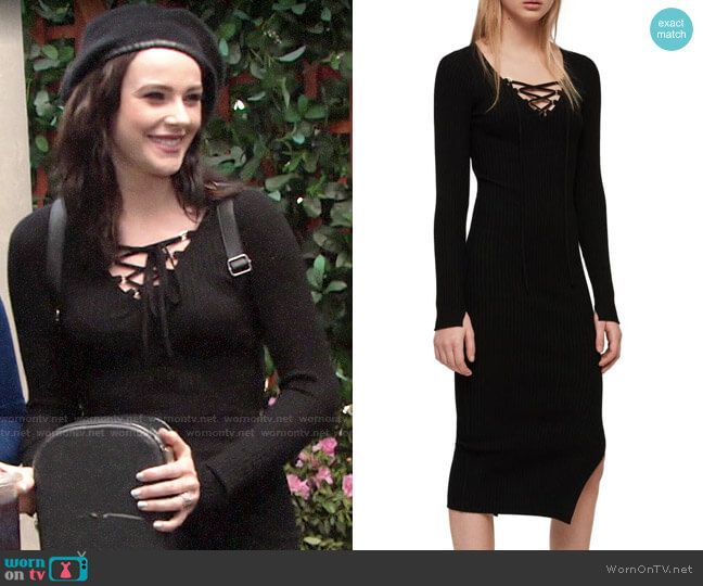 All Saints Tamsin Dress worn by Tessa Porter (Cait Fairbanks) on The Young & the Restless